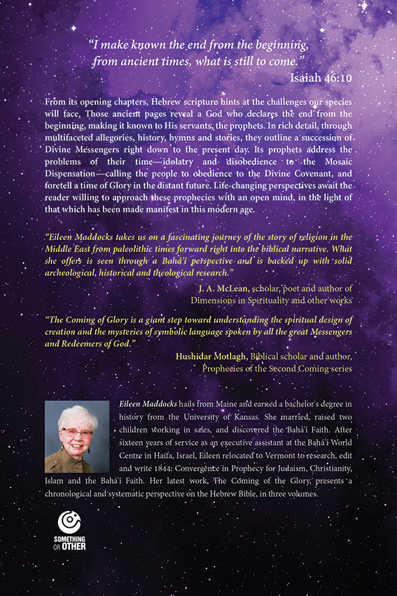 Back cover of the book The Coming of the Glory. Contains some quotes and photograph of the author in the bottom left corner.
