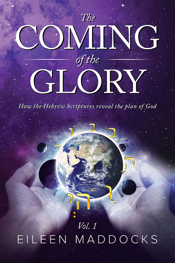 Front cover of the book The Coming of the Glory. Below the title it shows two hands holding the planet earth with other planets around it.